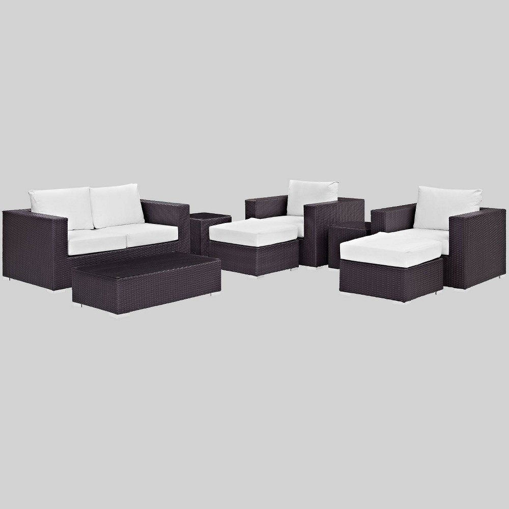 Convene 8pc Outdoor Patio Sofa Set White Modway