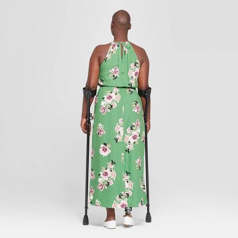 c90918c2808 Women s Plus Size Floral Print Sleeveless Slit Maxi Dress - Ava   Viv™ Green  3X   Target