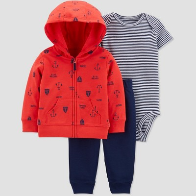 Baby Boys' 3pc Boat Cardigan Set - Just One You® made by carter's Red/Navy Blue 9M