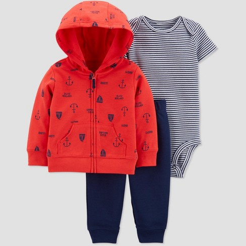 Baby Boys' 3pc Boat Cardigan Set - Just One You® made by carter's Red/Navy Blue - image 1 of 1