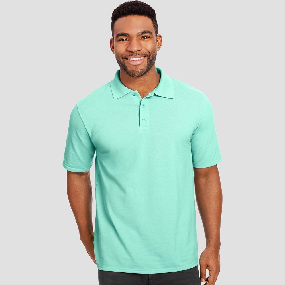 Hanes Mens Big & Tall X-Temp Performance Pique Polo Short Sleeve Shirt - Mint 3XL Green Price