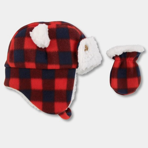 2f8aac0040f Baby Boys  Plaid Trapper Hat And Mitten Set - Cat   Jack™ Red   Target