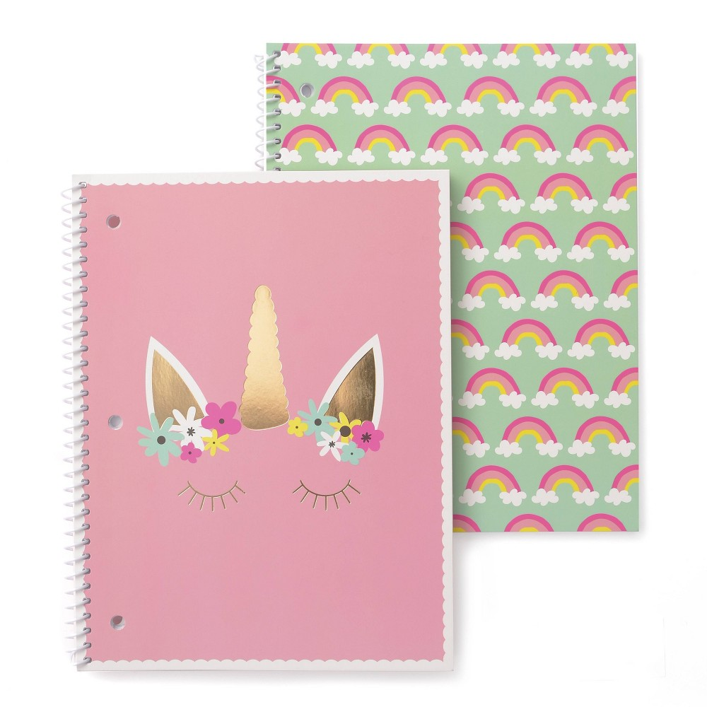 2pk Pretty Unicorn Spiral Notebook Set 1 Subject Gartner Studios