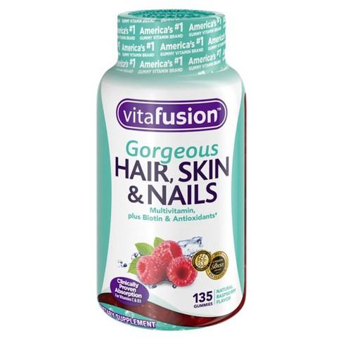 Vitafusion Gorgeous Hair Skin & Nails Supplement Gummies - Raspberry - 135ct - image 1 of 4