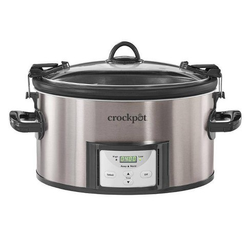 Crock Pot 7qt Cook & Carry Programmable Easy-Clean Slow Cooker - Premium Black Stainless Steel - image 1 of 4