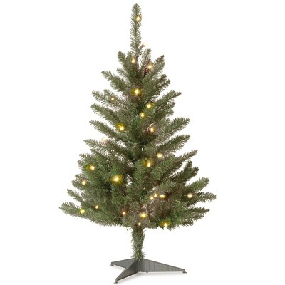 3ft National Christmas Tree Company Kingswood Fir Artificial Christmas Tree 50ct Bulb Clear