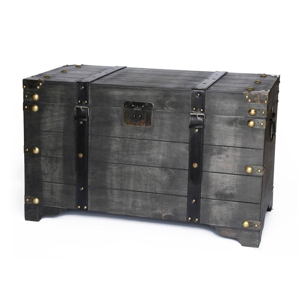 Large Wooden Storage Trunk Coffee Table Vintage Black - Vintiquewise