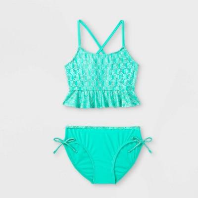 Girls' Shimmer Scales Ruffle Bikini Set - Cat & Jack™ Green