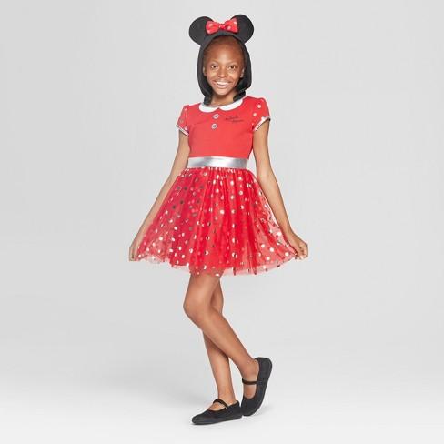 Girls Disney Minnie Mouse Short Sleeve Cosplay Dress Redblack