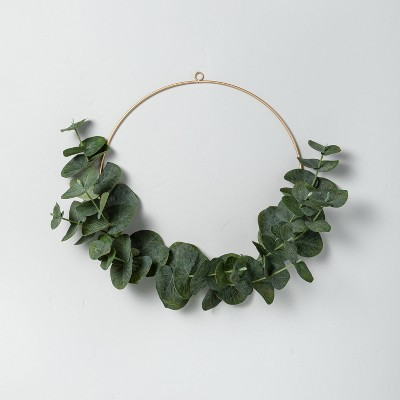 "14"" Faux Eucalyptus Wire Wreath - Hearth & Hand™ with Magnolia"