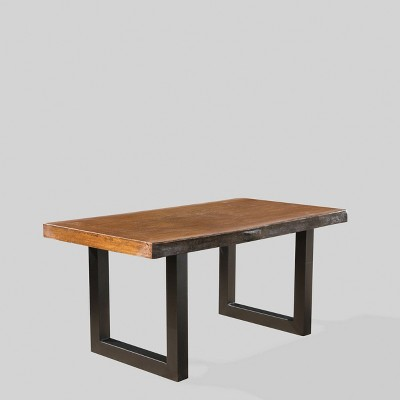 Caldwell Concrete Rectangle Faux Live Edge Patio Dining Table Teak Christopher Knight Home Brickseek