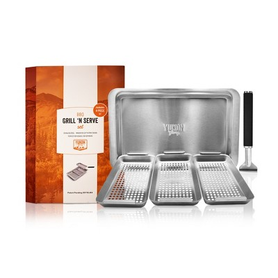 Yukon Glory Grill 'n' Serve BBQ Basket Set, Revolutionary Grill to Table Design, Includes 3 BBQ Baskets, Serving Tray and Patented Clip-on Handle.