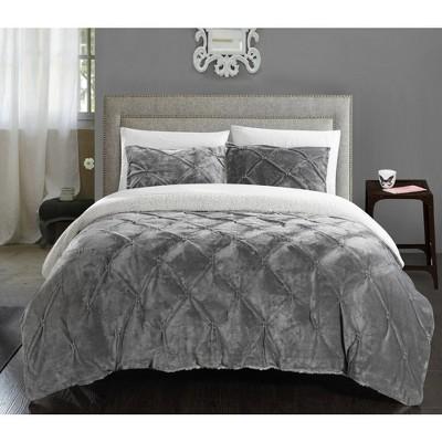 3pc Queen Chiara Comforter Set Gray - Chic Home Design