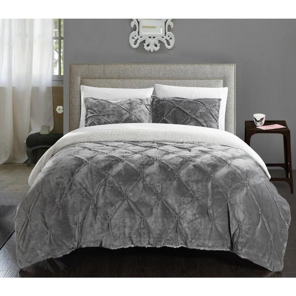 Image of 3pc Queen Chiara Comforter Set Gray - Chic Home Design