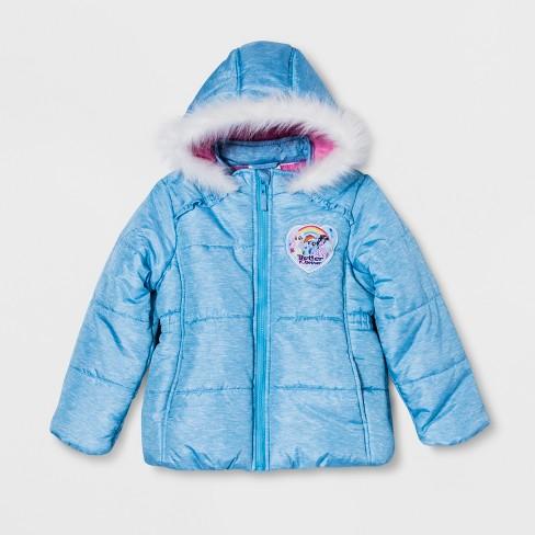 e09559d13 Girls  My Little Pony Puffer Jacket - Blue   Target