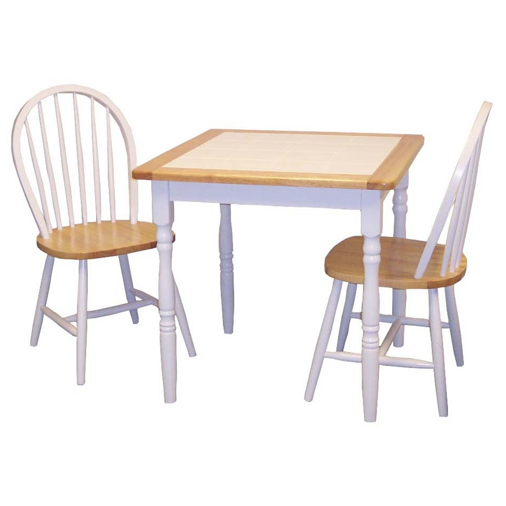 Chester Tile Top Dining Set White/Natural 3 Piece - Tms