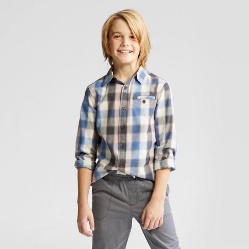 d83f533a9bd94 Boys  Long Sleeve Button-Down Shirt - Cat   Jack™ Pink Blue   Target