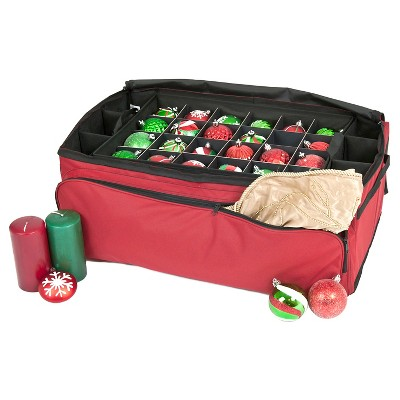 TreeKeeper Santa's Bags 3 Tray Ornament Storage with Side and Front Pockets