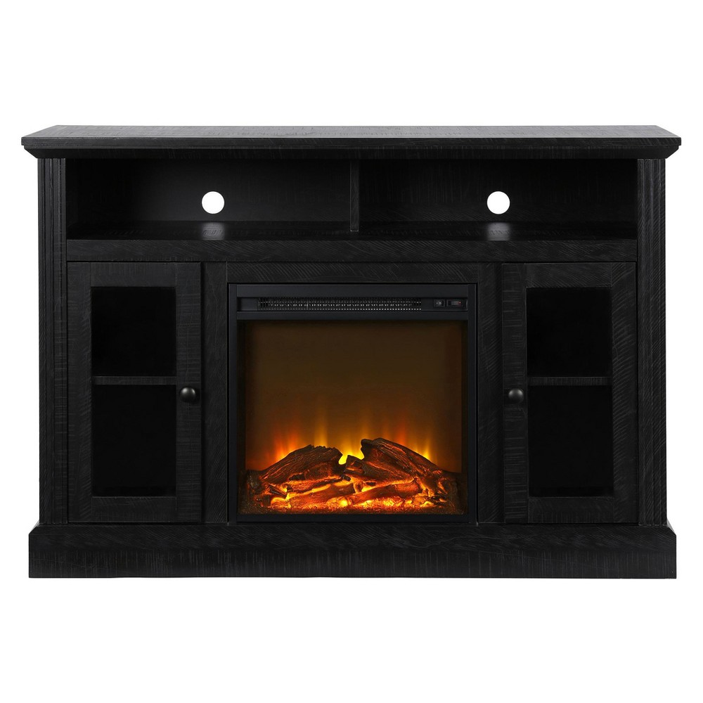 Pinnacle Point Fireplace TV Console - Black - Room & Joy