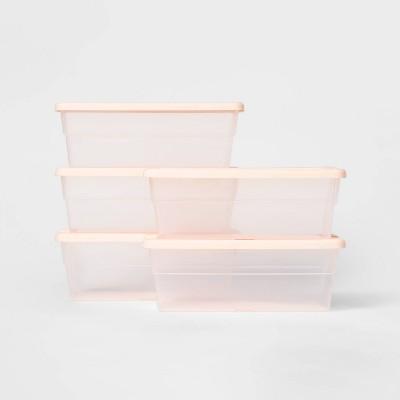 Set of 5 6qt Shoe Box Peach - Room Essentials™