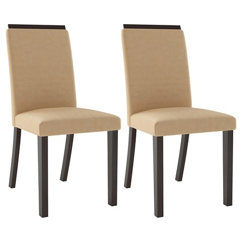 Bistro Upholstered Dining Chair Wood/Desert Sand (Set of 2) - CorLiving - image 1 of 5
