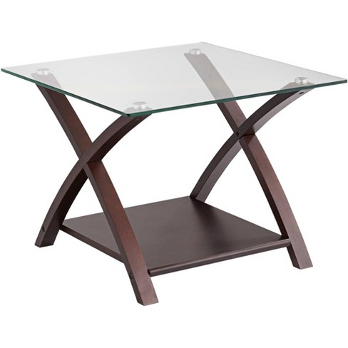 Elm Lane Ashton Espresso Wood and Glass Top End Table - image 1 of 4