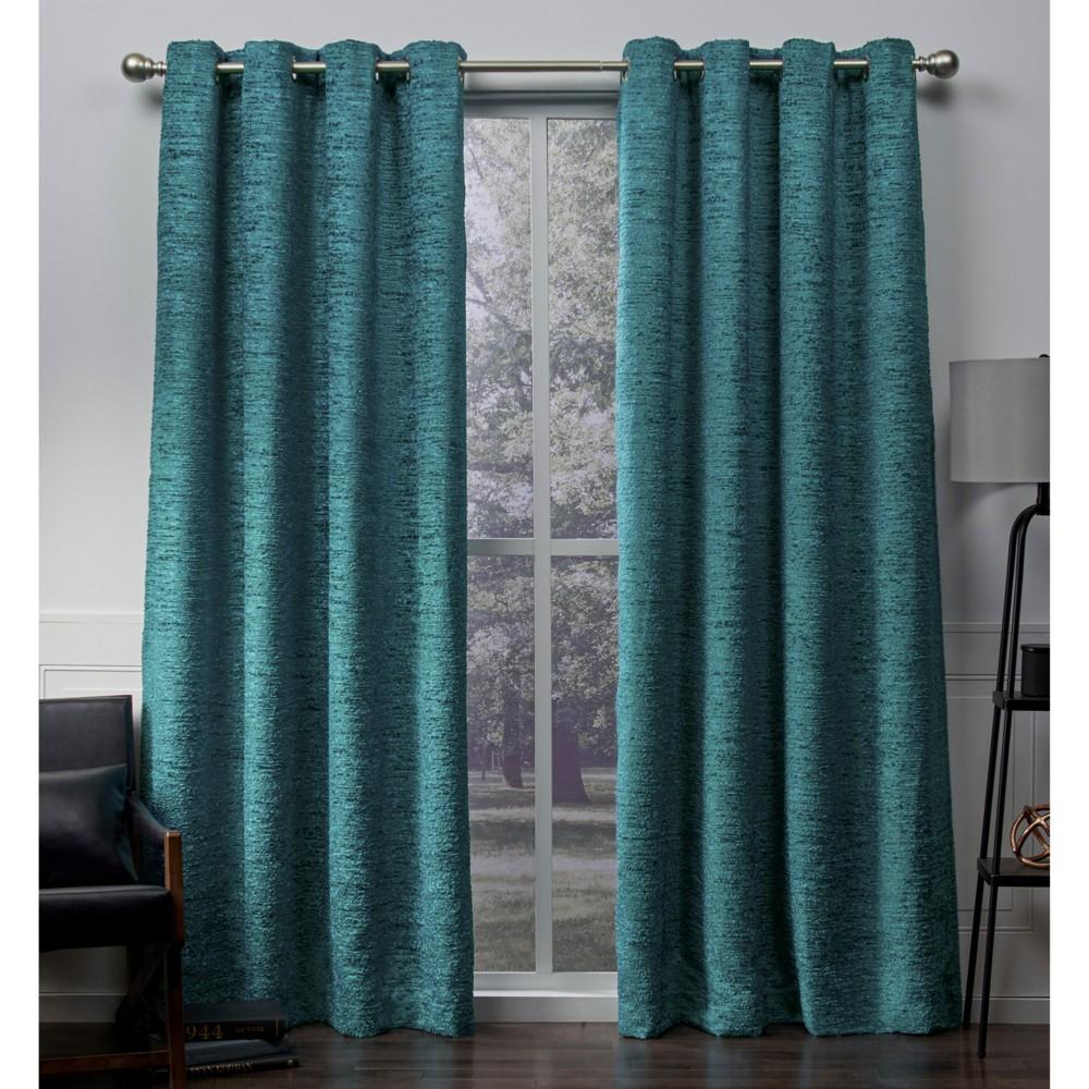 Criss Cross Chenille Eyelash Grommet Top Window Curtain Panel Pair Teal (Blue) (54