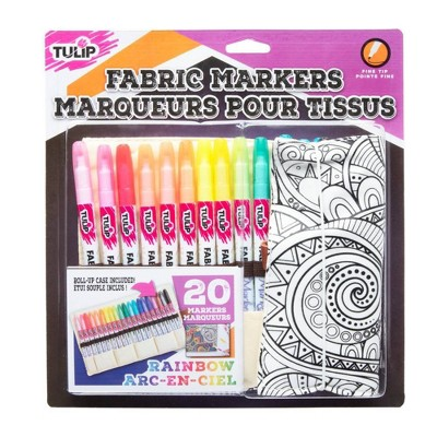 Tulip 20ct Fine Tip Fabric Markers with Roll-Up Case - Rainbow
