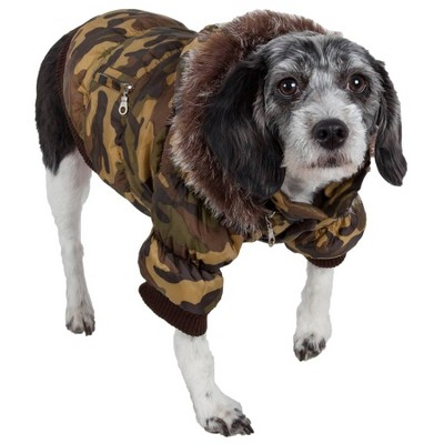 Pet Life Metallic Fashion Dog and Cat Parka Coat - Camo