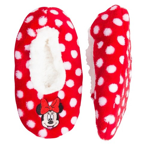 Toddler Girls' Fuzzy Red Minnie Mouse Polka Dot Slippers - Disney® - image 1 of 1