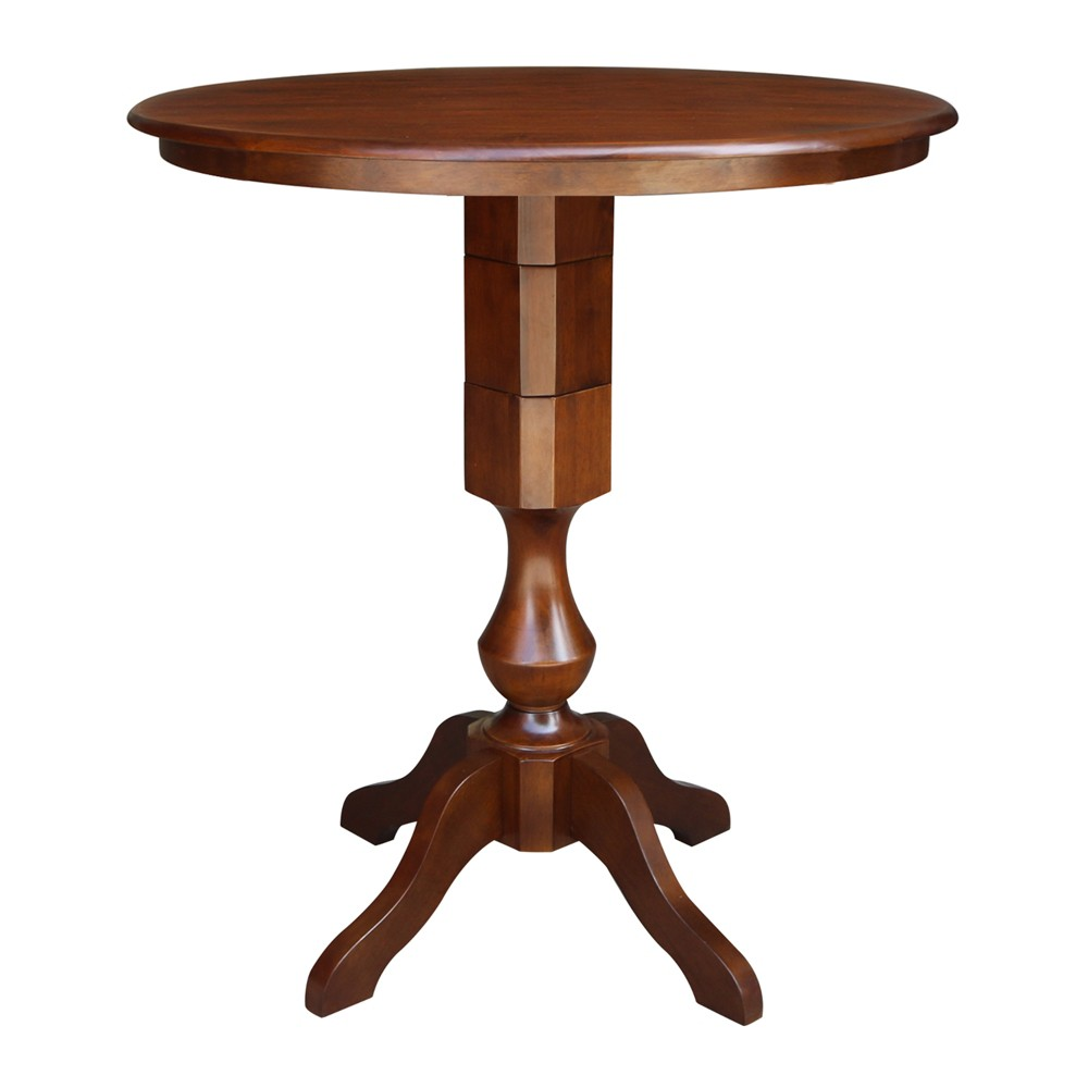 36 Opal Round Top Pedestal Table Bar Height Espresso - International Concepts, Brown