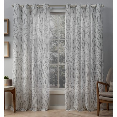 54 x63  Oakdale Sheer Grommet Top Window Curtain Panel Pair Dove Light Gray - Exclusive Home