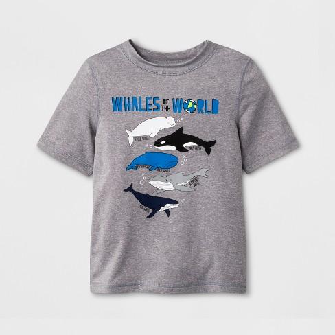 507d44c28 Toddler Boys' Short Sleeve Whales Rash Guard - Cat & Jack™ Gray : Target