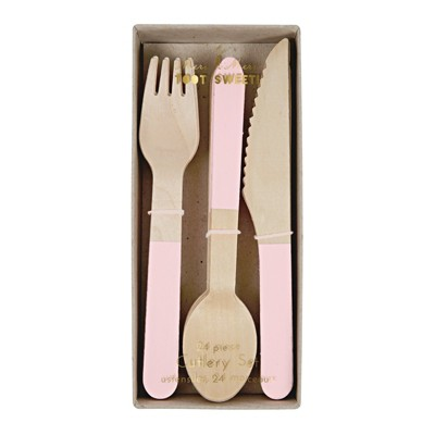 Meri Meri Pink Wooden Cutlery Set