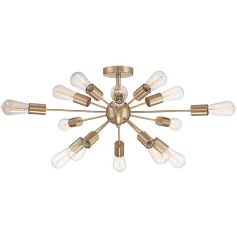 """Possini Euro Design Modern Ceiling Light Semi Flush Mount Fixture LED Edison Sputnik Style Gold 26"""" Wide 15-Light for Living Room - image 1 of 4"""