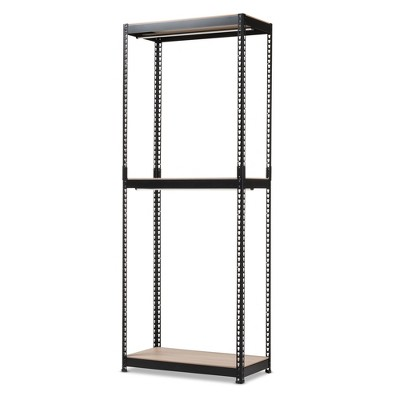 Gavin Metal 3 - Shelf Closet Storage Racking Organizer - Black - Baxton Studio