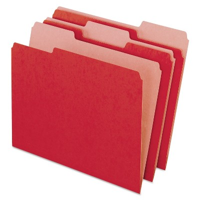 Pendaflex Earthwise Recycled Colored File Folders 1/3 Cut Top Tab Letter Red 100/Box 04311