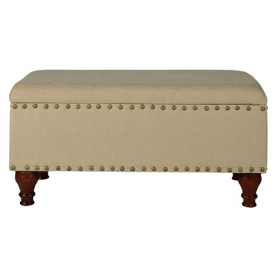 Medium Storage Bench With Nailheads   Tan   HomePop