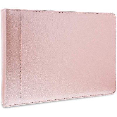 7 Ring Business Check Binder, Checkbook Holder Portfolio with Zipper Pouch, Rose Gold, PU Leather