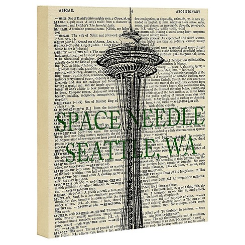 DarkIslandcity Space Needle On Dictionary Paper Art Canvas - Deny Designs® - image 1 of 1