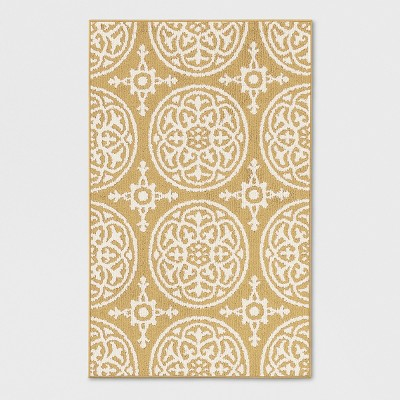 Yellow Medallion Tufted Washable Accent Rug 2'6 X4'/30 X48  - Threshold™