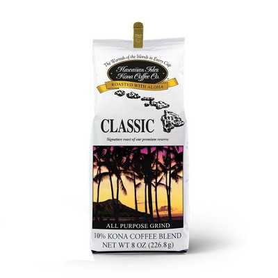 Hawaiian Isles Classic Kona Blend Medium Roast Ground Coffee - 8oz