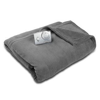 Twin Microplush Electric Blanket Charcoal Gray - Biddeford Blankets