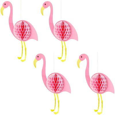 """Sparkle and Bash 4-Pack Tropical Flamingo Party Decorations, Pink Honeycomb Hanging Decor for Hawaiian Luau Theme Bridal Shower, Party Supplies, 20"""""""