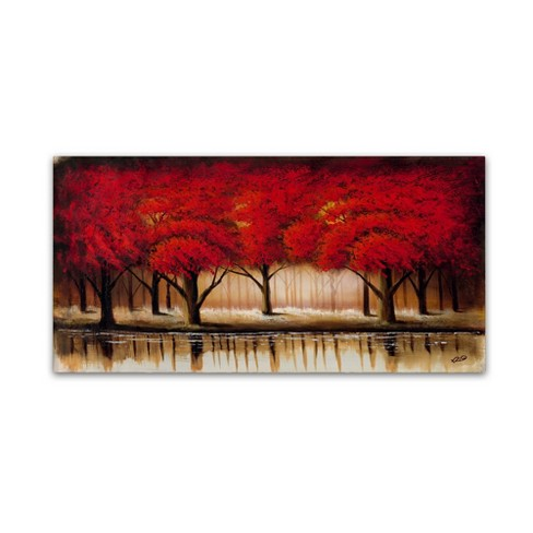 """24"""" x 47"""" Parade of Red Trees II by Rio - Trademark Fine Art - image 1 of 4"""