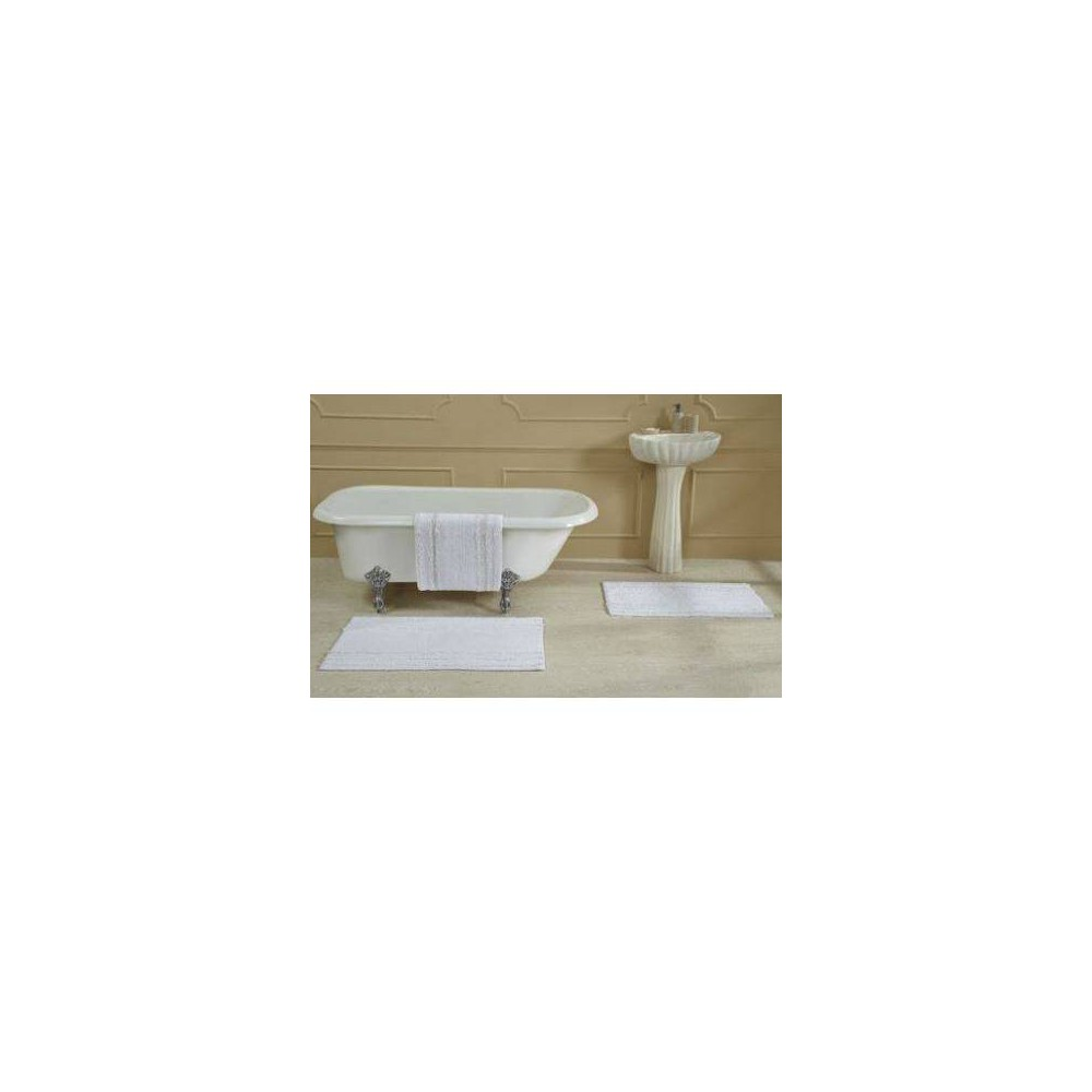 "Image of ""17""""X24"""" Ruffle Border Bath Rug White - Better Trends"""
