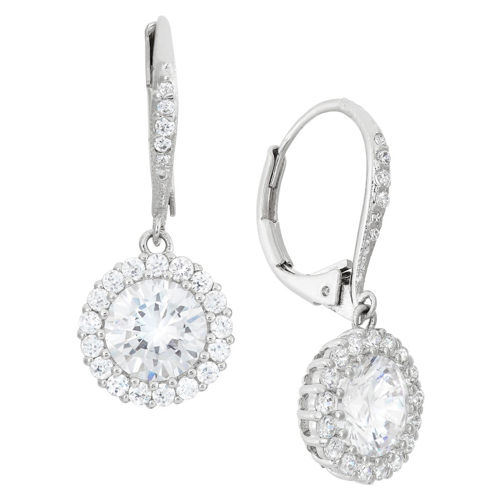 Check price Sterling Silver 8mm Round-cut CZ Halo Leverback Earrings