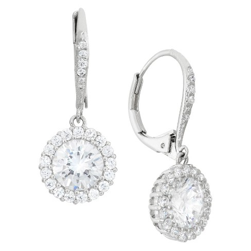 Sterling Silver 8mm Round Cut Cz Halo Leverback Earrings