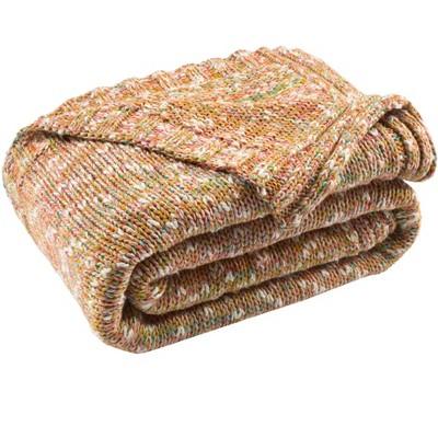 "Darling Knit Throw Blanket - Orange/Multicolored - 50"" x 60"" - Safavieh"