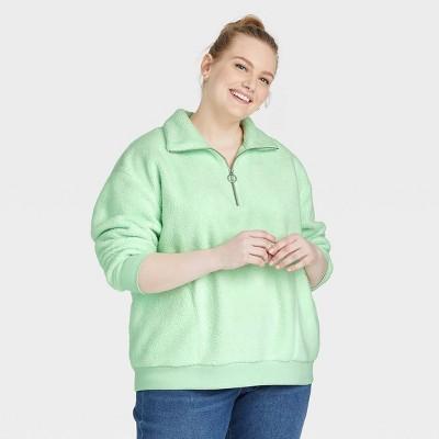 Women's Plus Size Sherpa Quarter Zip Pullover Sweatshirt - Ava & Viv™